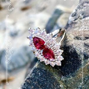 Ruby Spinel and White Topaz in silver Ring .